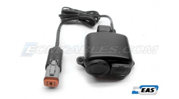 "Harley Buell 1"" Handlebar Mount 'Plug-n-Go' USB & 12V Auxiliary Power Outlet on J1850 ECM or AUX PWR with EAS™ Technology"